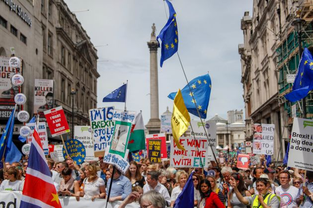 Protestors march during the People's Vote