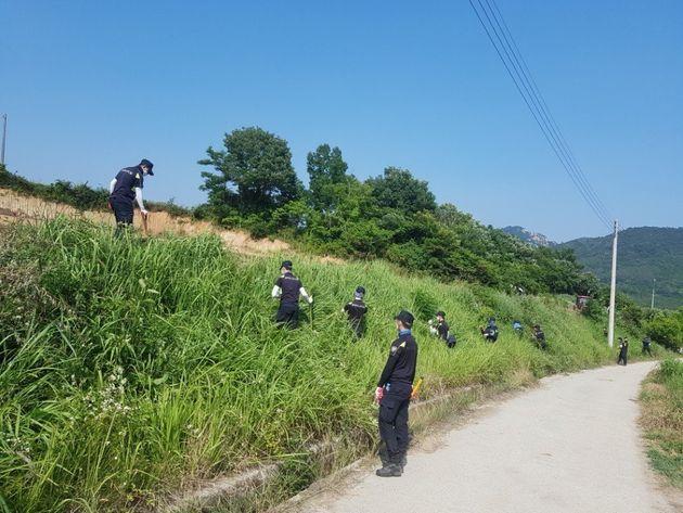경찰이 24일 실종한 여고생을 찾기 위해 강진군 일대에서 대대적인 수색을 펼치고