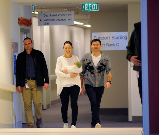 New Zealand Prime Minister Jacinda Ardern, centre, says she hopes that one day having a baby while leading...