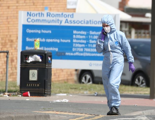 Forensic investigators at the scene of a stabbing in Romford, east London on Saturday night after a private...
