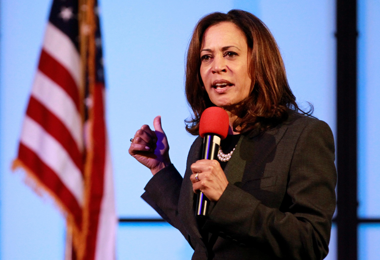 U.S. Senator Kamala Harris (D-CA) holds a town hall meeting in Sacramento, California, U.S., April 5, 2018.  REUTERS/Bob Strong