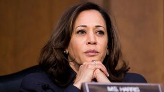 UNITED STATES - JANUARY 16: Sen. Kamala Harris, D-Calif., listens during the Senate Judiciary Committee hearing on 'Oversight of the United States Department of Homeland Security' on Tuesday, Jan. 16, 2018. (Photo By Bill Clark/CQ Roll Call)