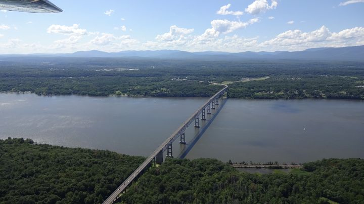 An aerial view of the Kingston-Rhinecliff Bridge in the Hudson Valley. New York's 19th is known for its natural beauty.