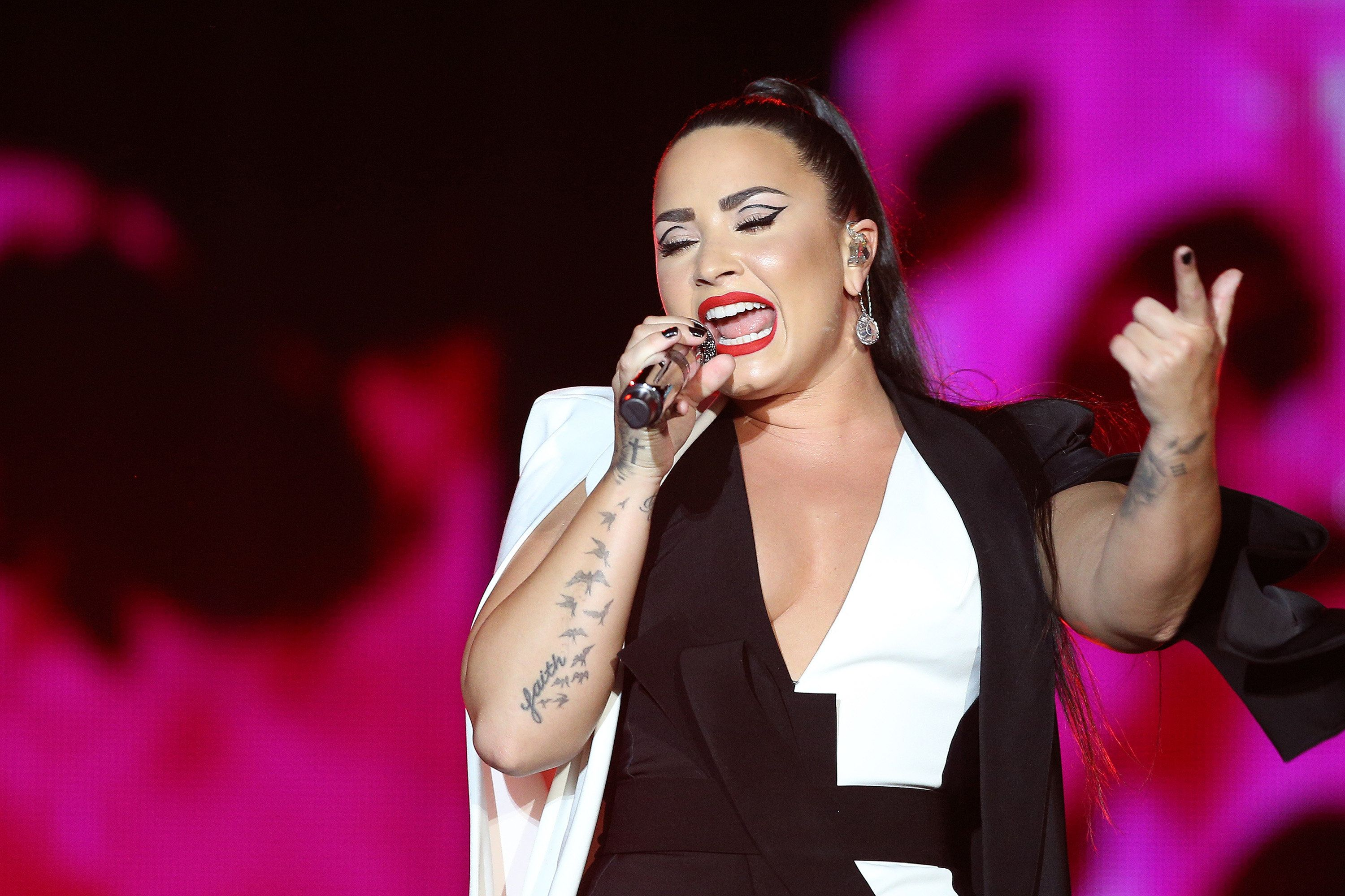 US singer Demi Lovato performs at the Rock in Rio Lisboa 2018 music festival in Lisbon, Portugal, on June 24, 2018. ( Photo by Pedro Fiúza/NurPhoto via Getty Images)