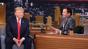 THE TONIGHT SHOW STARRING JIMMY FALLON -- Episode 0397 -- Pictured: (l-r) Presidential candidate Donald Trump during an interview with host Jimmy Fallon on January 11, 2016 -- (Photo by: Douglas Gorenstein/NBC/NBCU Photo Bank via Getty Images)