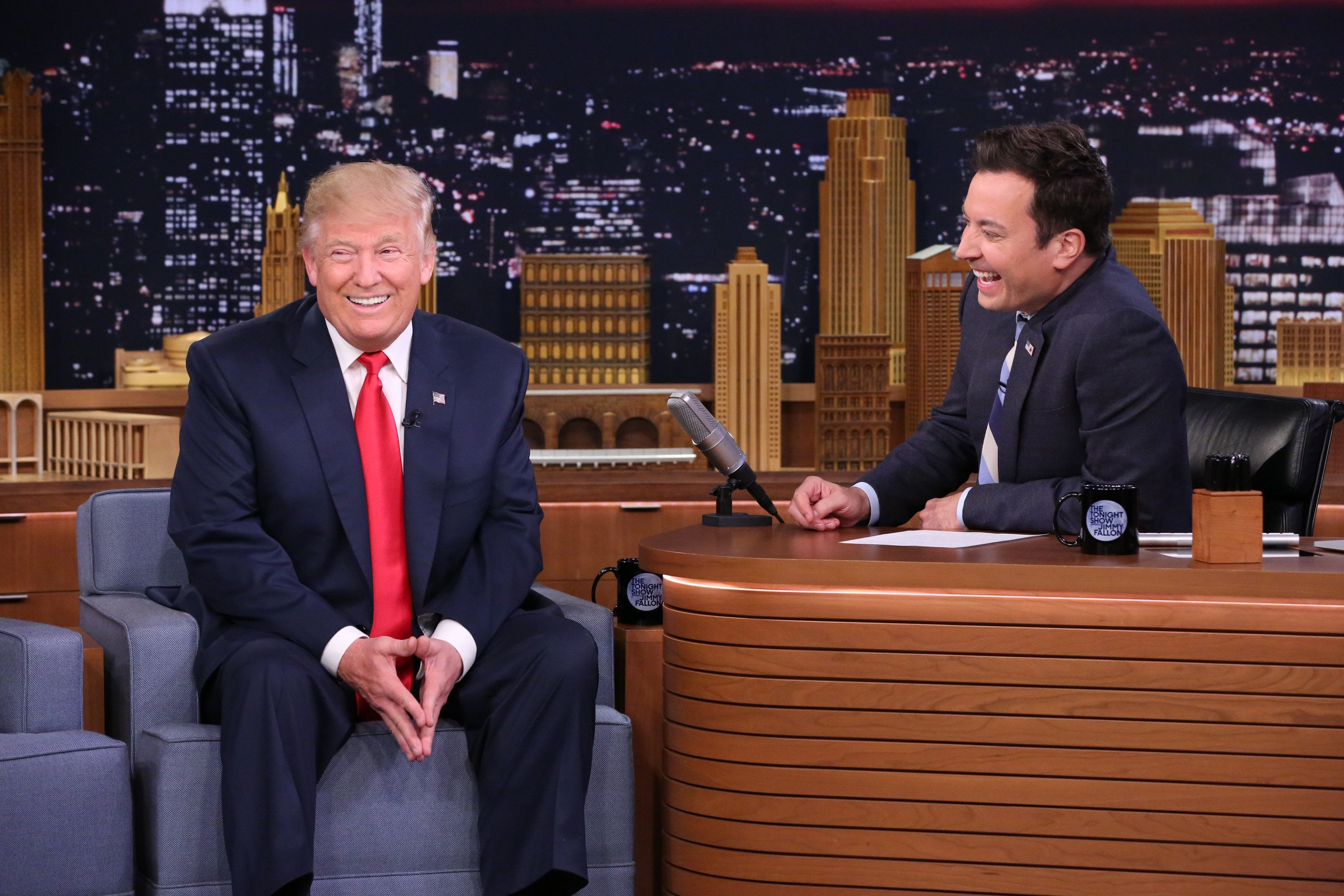 """Then-presidential candidate Donald Trump and Jimmy Fallon during a taping of """"The Tonight Show"""" on Sept. 15, 2016."""