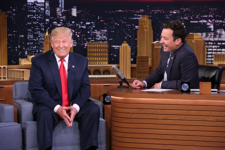 "Then-presidential candidate Donald Trump and Jimmy Fallon during a taping of ""The Tonight Show"" on Sept. 15, 2016."