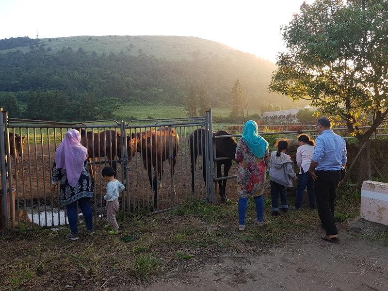 제주 주민 ㅇ씨의 집에 머무는 압둘라(가명) 가족이 산책하고