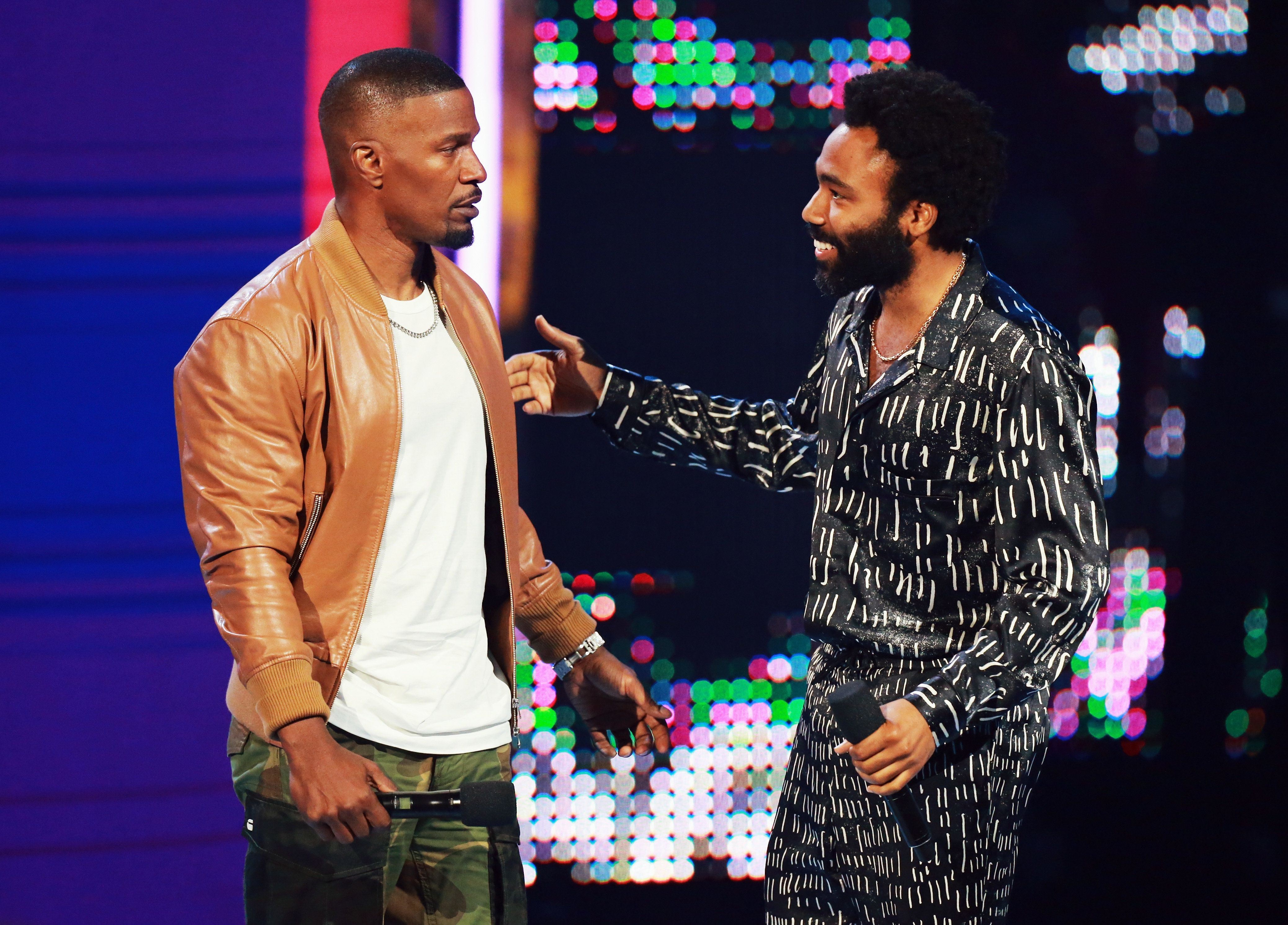 Host Jamie Foxx and Donald Glover onstage at the BET Awards.