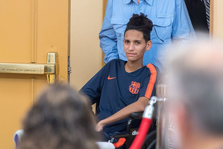 Anthony Borges seen on April 6 still recovering from the shooting at Marjory Stoneman Douglas High School two months earlier.