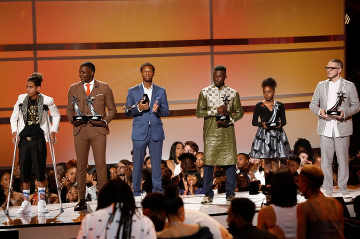 The recipients of BET's first-ever Humanitarian Heroes awards: Anthony Borges, James Shaw Jr., Justin Blackman, Mamoudou Gass