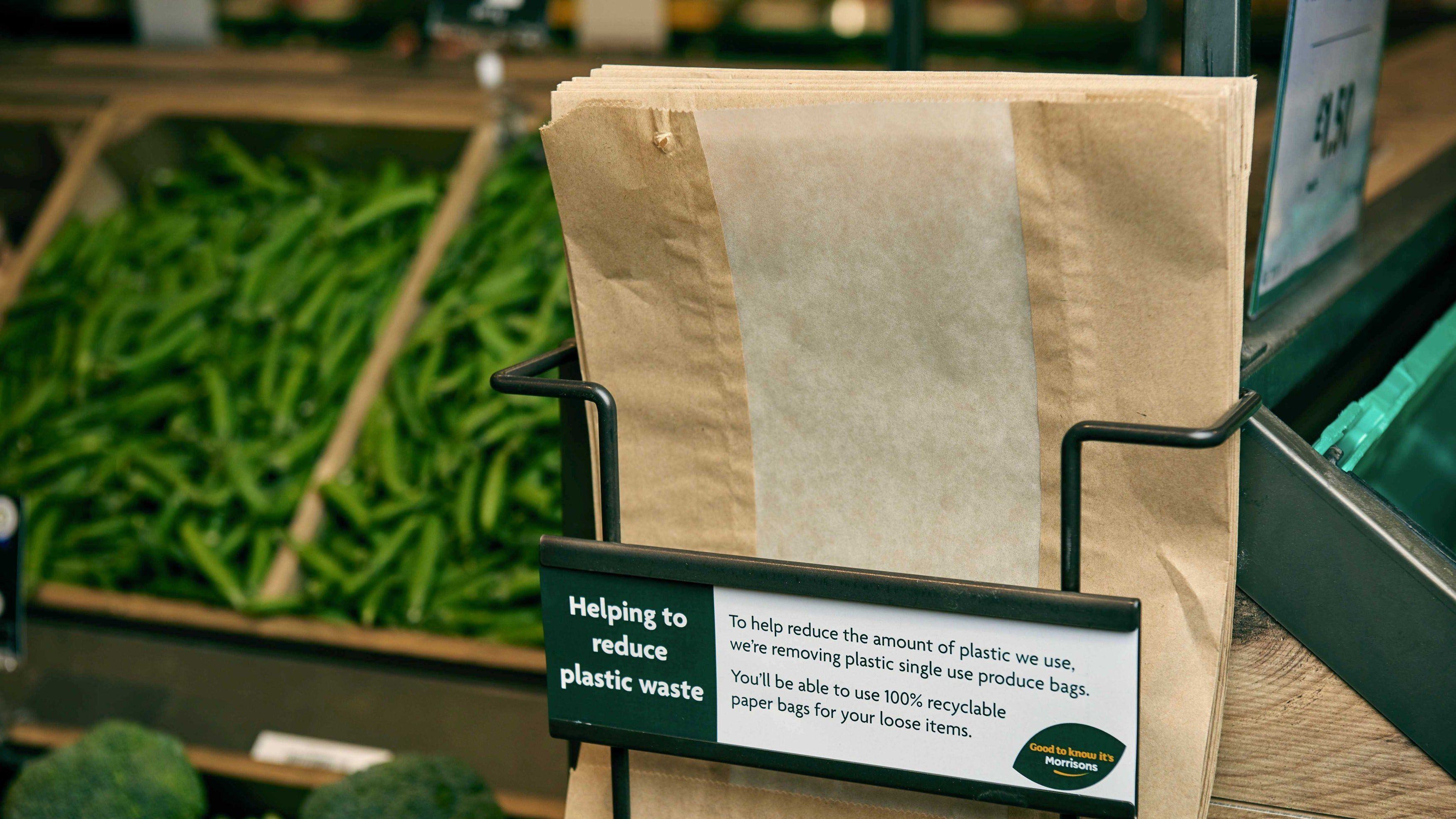 Morrisons Aims To Save 150 Million Plastic Bags Per Year With Paper Bags For Fruit And Veg
