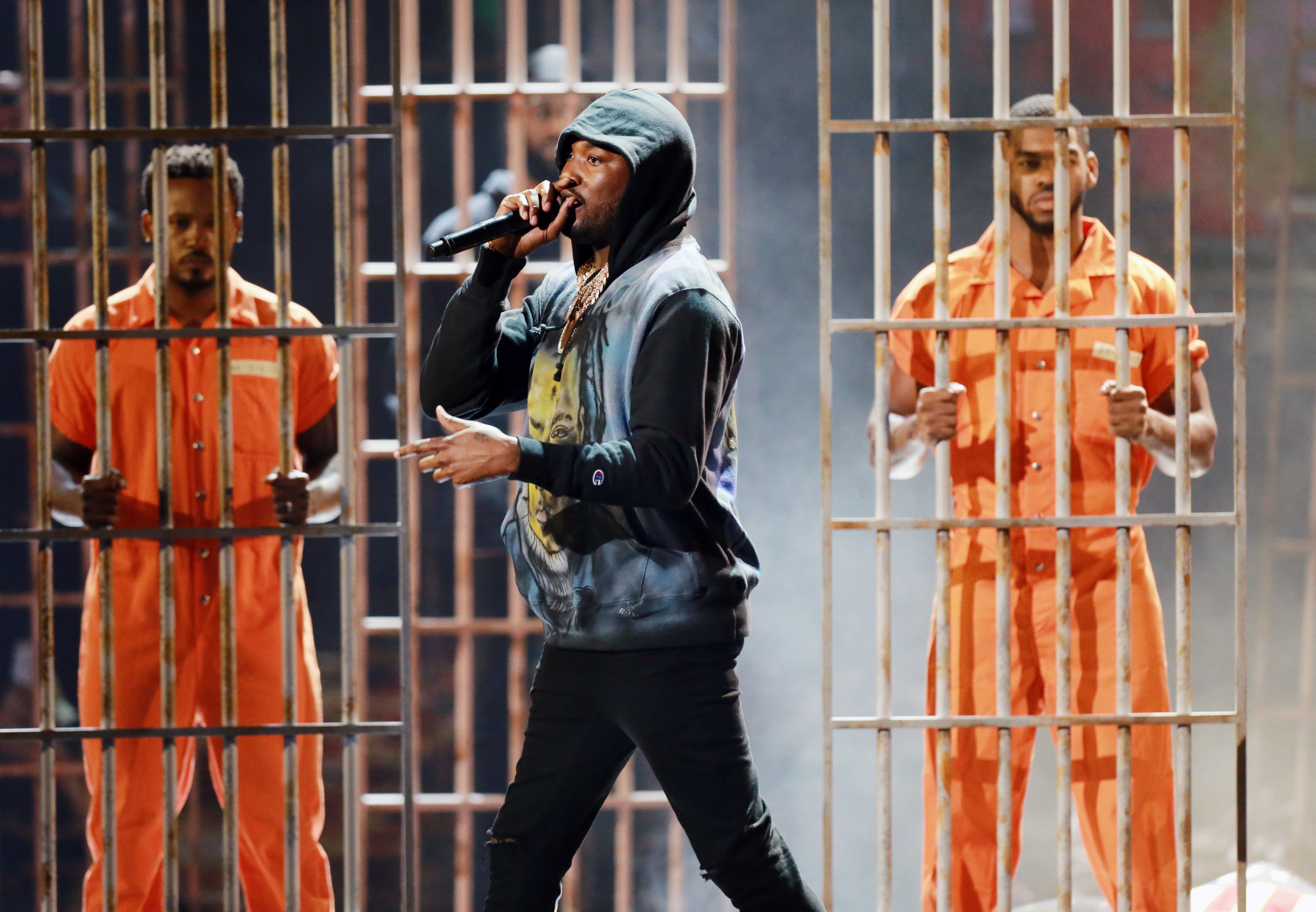 Meek Mill performs at the 2018 BET Awards on Sunday.