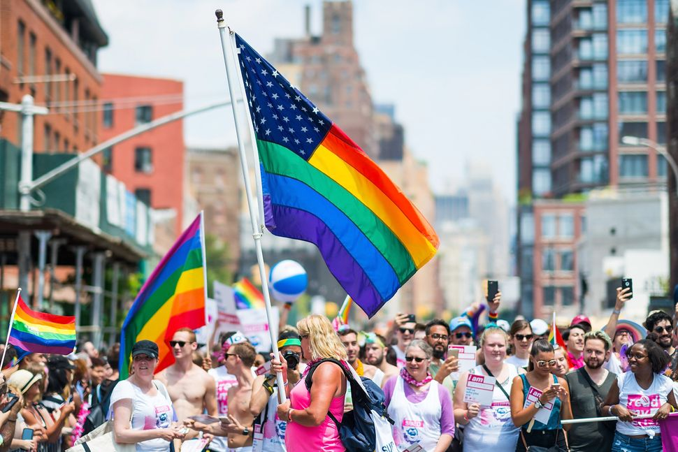 A general view of the atmosphere during the New York City PrideMarch on June 24, 2018.