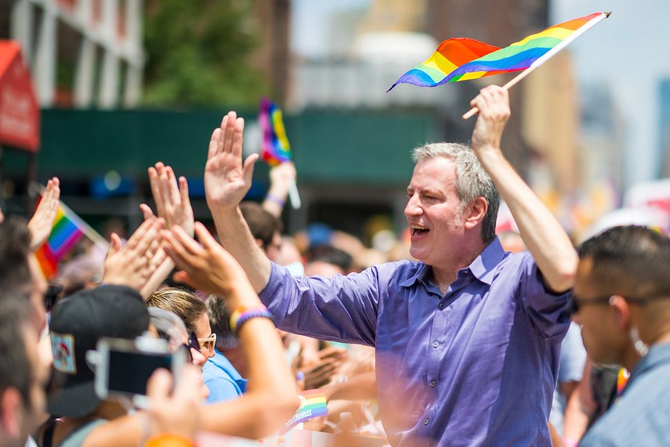 New York City Mayor Bill de Blasio attends the 2018 New York City Pride March.