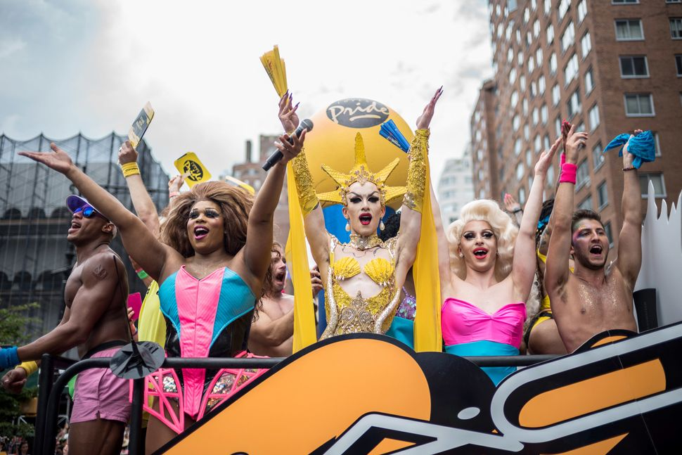 Drag queens Peppermint (left), Sasha Velour (center) and Miz Cracker (right) attend the New York City Pride March.