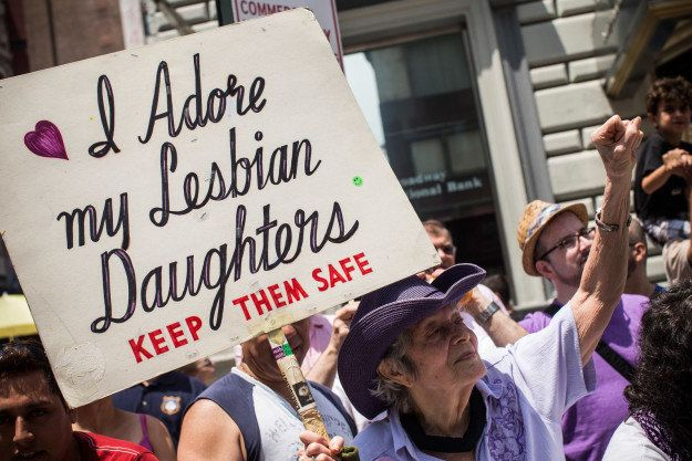 Frances Goldin, 94, is mom to two lesbian daughters. To show her support for them, she bringsthe same sign when she attends the New York City Pride march.