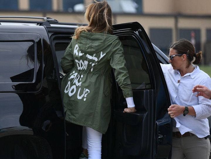 Melania Trump has been accused of sending a negative message with her jacket.