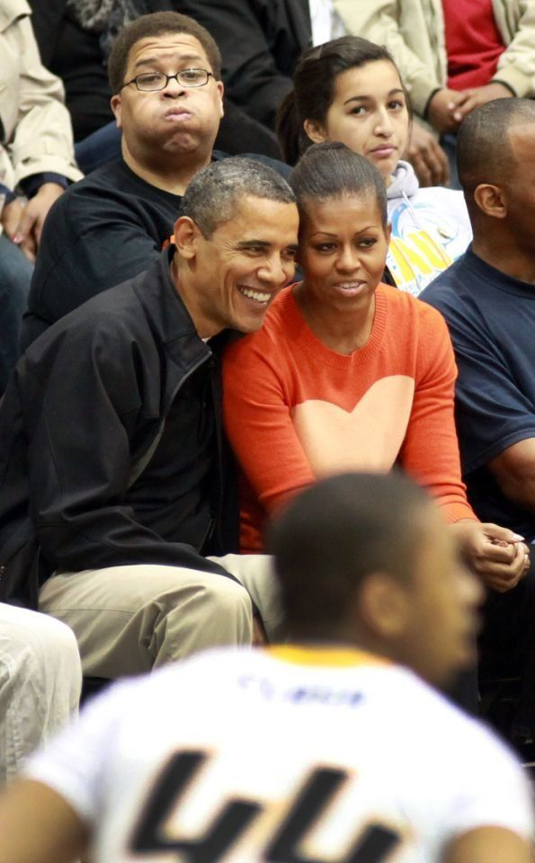 Michelle Obama wore a heart-print sweater in 2011.