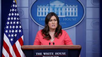 U.S. White House Press Secretary Sarah Huckabee Sanders holds the daily briefing at the White House in Washington, D.C., U.S., June 18, 2018. REUTERS/Leah Millis