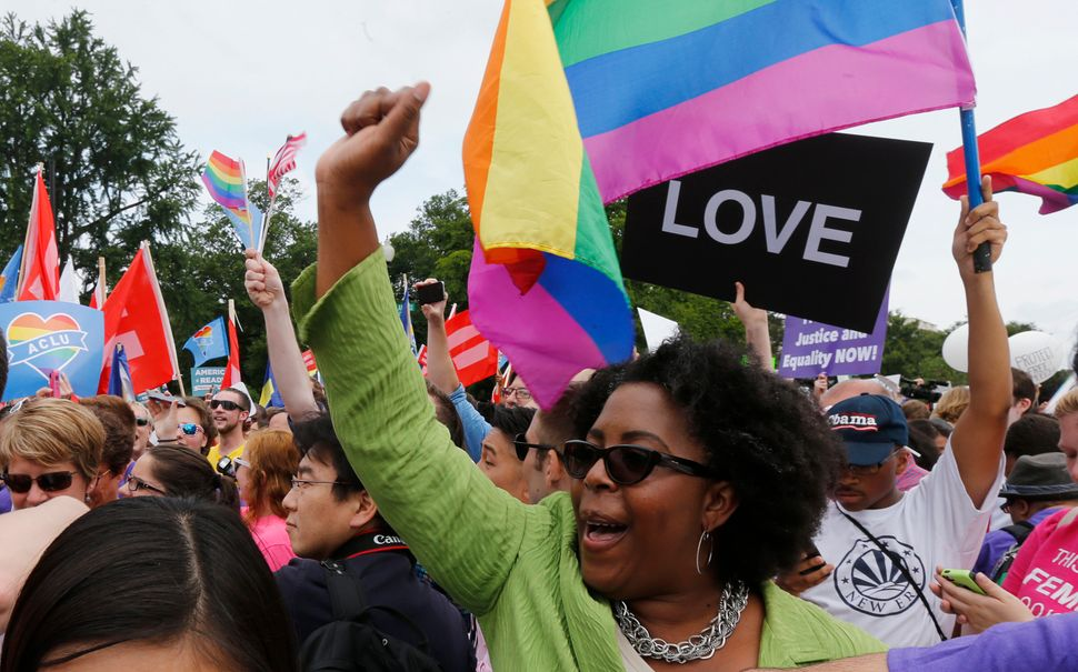 """Love conquers hate"" was a frequent chant outside the Supreme Court building after the ruling on same-sex marriage."