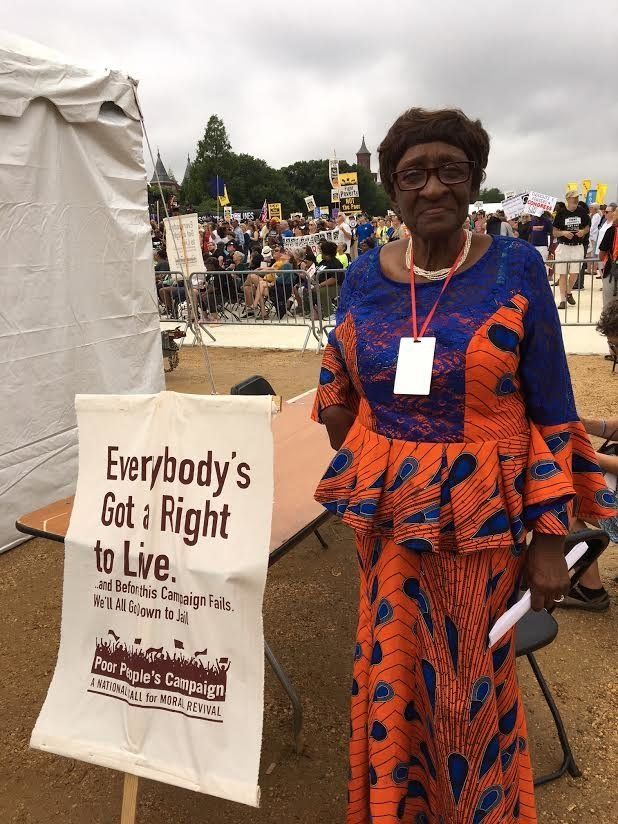 Louise Brown, 83, at the Poor People's Campaign rally in Washington, D.C., on June 23. The movement aims to link a&nbsp