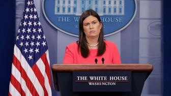 WASHINGTON, DC - MAY 17:  White House Press Secretary Sarah Huckabee Sanders conducts the daily news conference in the Brady Press Briefing Room at the White House May 17, 2018 in Washington, DC. Sanders faced questions about Michael Cohen, upcoming talks with North Korea, why the president called some immigrants non-people and animals and other inquiries.  (Photo by Chip Somodevilla/Getty Images)