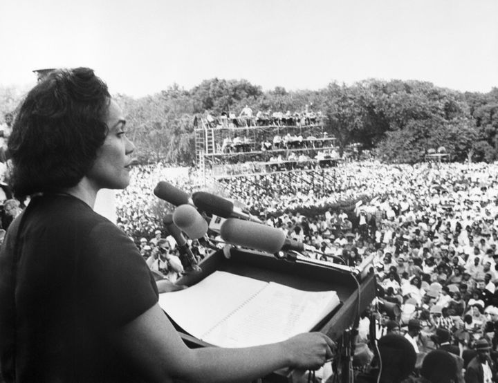 Coretta Scott King addressing a Poor People's Campaign rally from the steps of the Lincoln Memorial on June 1