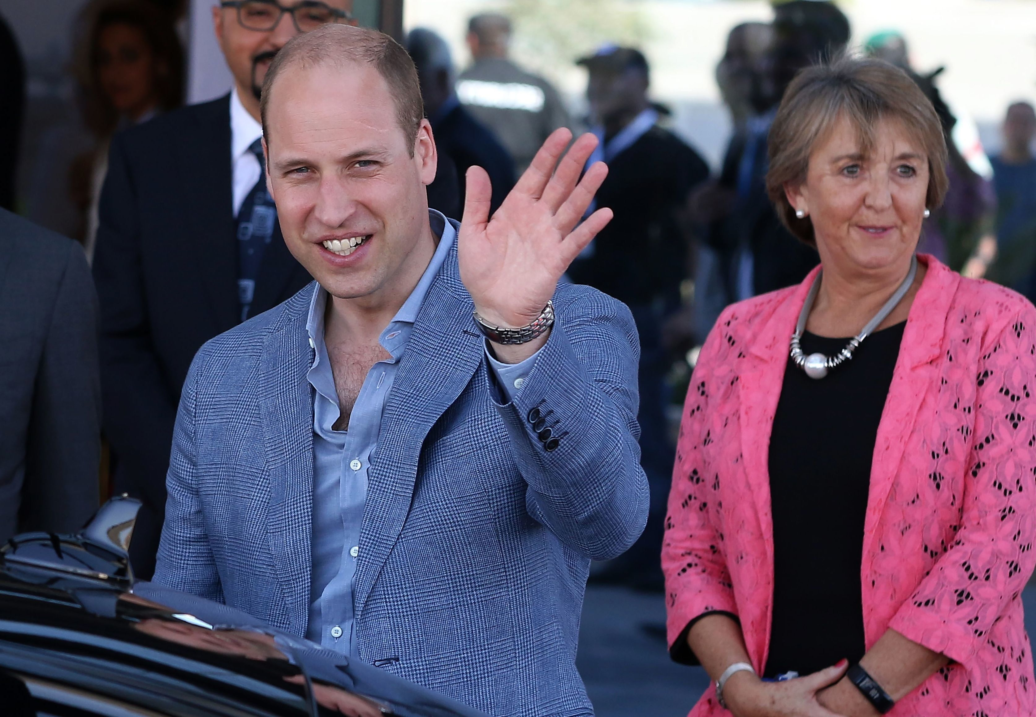 Britain's Prince William leaves following a visit at Luminus Technical University College in Amman on June 25, 2018. - William arrived in Jordan at the start of a Middle East tour that will see him become the first British royal to pay official visits to both Israel and the Palestinian territories. (Photo by Khalil MAZRAAWI / AFP)        (Photo credit should read KHALIL MAZRAAWI/AFP/Getty Images)