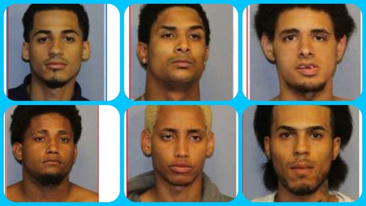 Clockwise from top left: Homicide suspects Danel Fernandez, Joniki Martinez, Jose Muniz, Jose Taverez, Manuel River