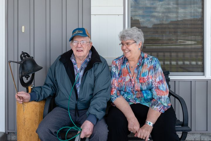 "Delmar Scroughams and his wife, Vergie ""Verg"" Scroughams, at home in Rexburg, Idaho. During a lucid moment in May,"