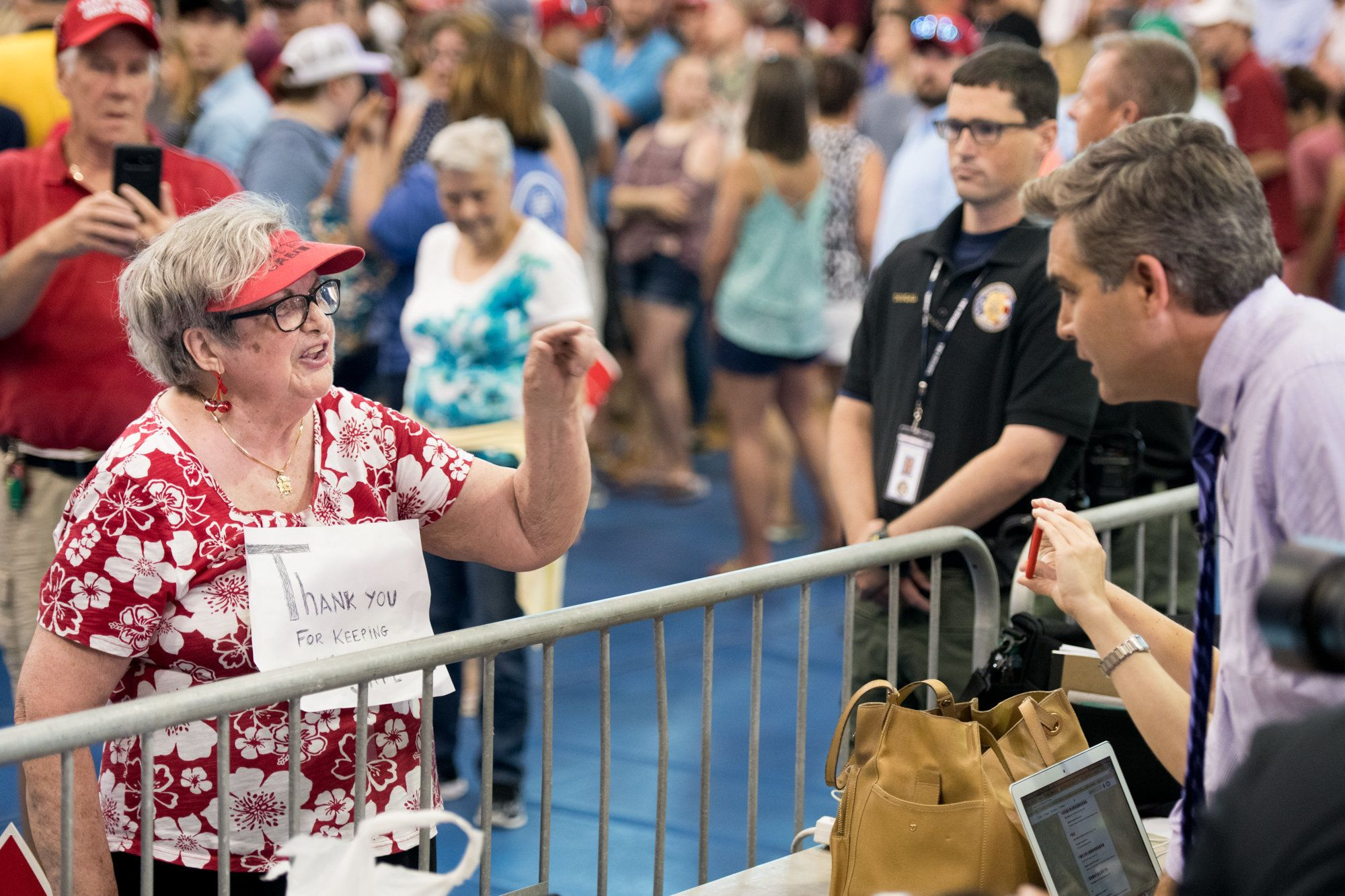 WEST COLUMBIA, SC - JUNE 25: Maria Rojas shouts at Jim Acosta of CNN before a campaign rally for Governor Henry McMaster featuring President Donald Trump June 25, 2018 in Columbia, South Carolina. (Photo by Sean Rayford/Getty Images)