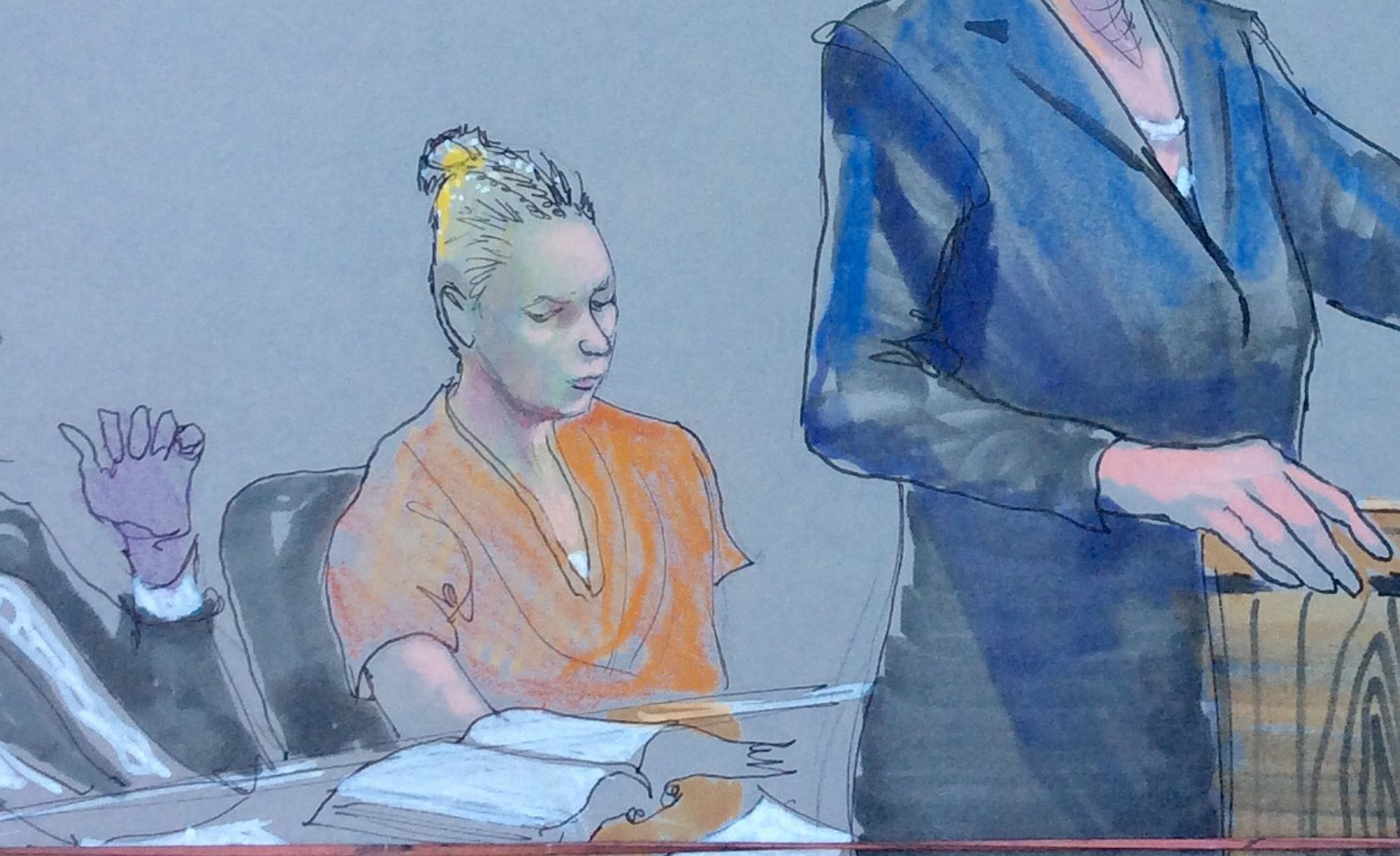 Reality Winner (C), the U.S. intelligence contractor charged with leaking classified National Security Agency material is shown in this courtroom sketch during her hearing at the U.S. District Courthouse in Augusta, Georgia, U.S., June 8, 2017.  Courtesy Richard Miller via REUTERS   EDITORIAL USE ONLY. MANDATORY CREDIT.