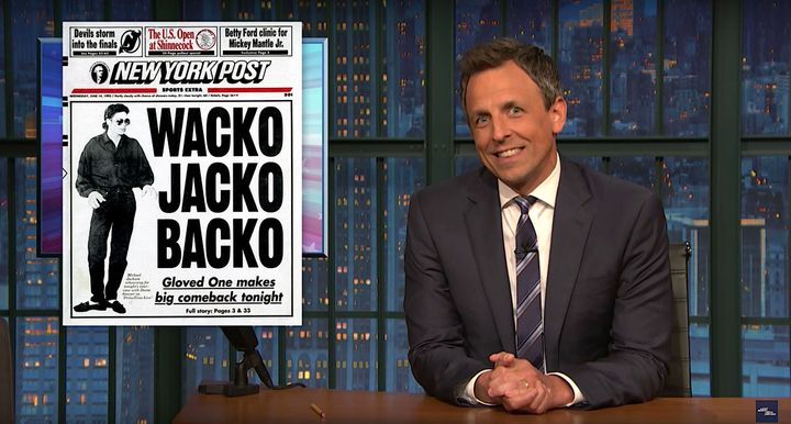 "Seth Meyers says on ""Late Night"" that President Donald Trump is qualified to work for the New York Post."