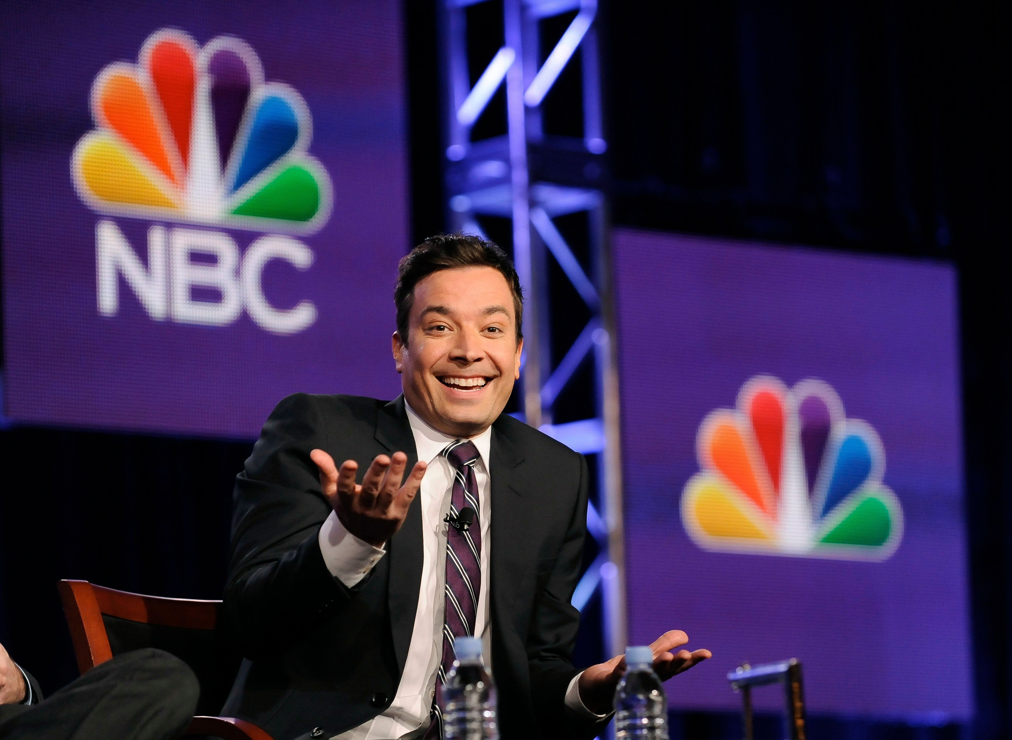 "Jimmy Fallon, host of ""The Tonight Show Starring Jimmy Fallon"",  takes part in a panel discussion at the NBC portion of the 2014 Winter Press Tour for the Television Critics Association in Pasadena, California, January 19, 2014. REUTERS/Gus Ruelas (UNITED STATES - Tags: ENTERTAINMENT)"