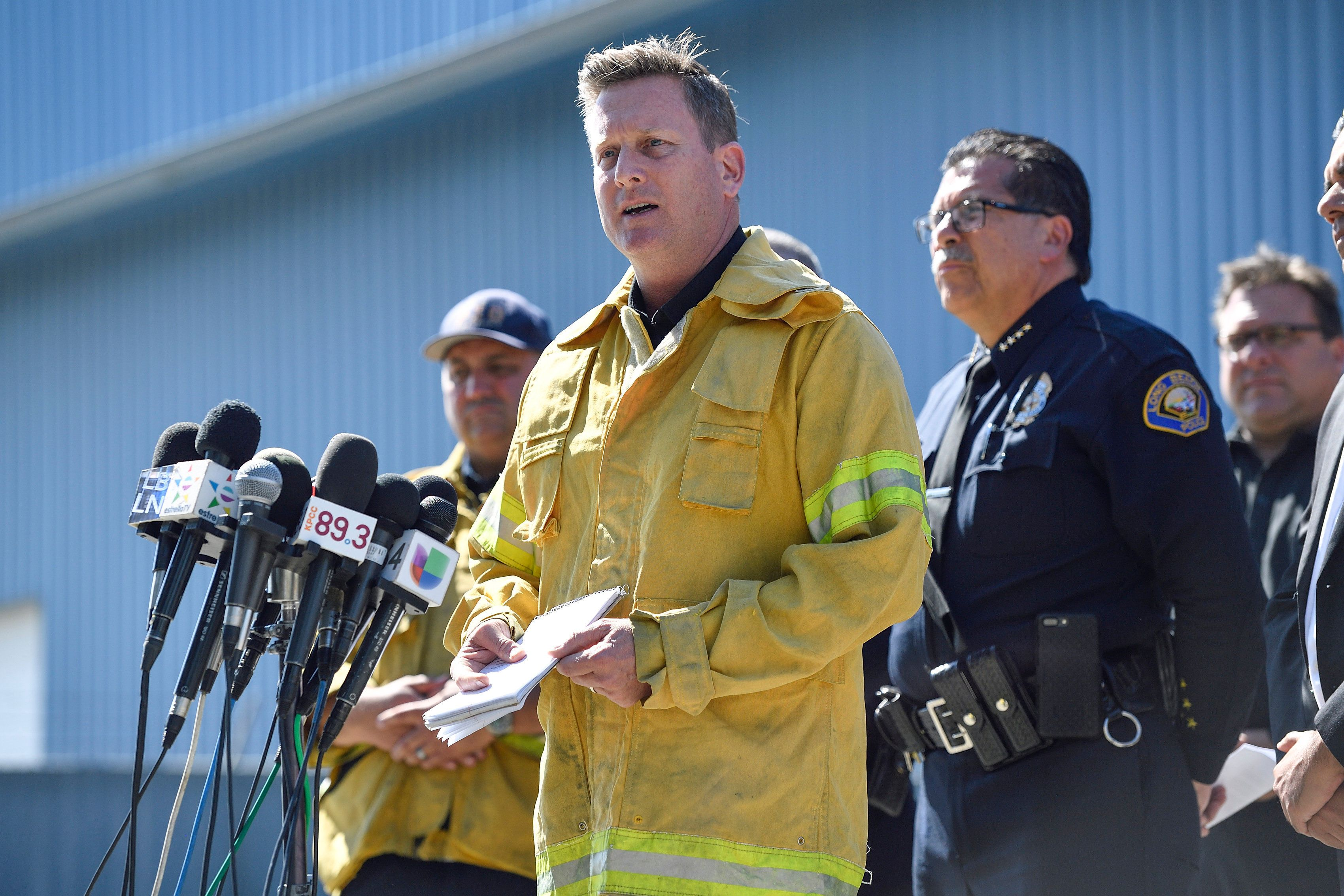 LONG BEACH, CA - JUNE 25: Long Beach Fire Chief Mike Duree during a press conference after Fire Captain Dave Rosa, 45, was shot and killed responding to a fire in Long Beach, CA, on Monday, June 25, 2018. Rosa and another firefighter were struck by gunfire while responding to reports of an explosion at a downtown Long Beach high-rise. (Photo by Jeff Gritchen/Orange County Register via Getty Images)