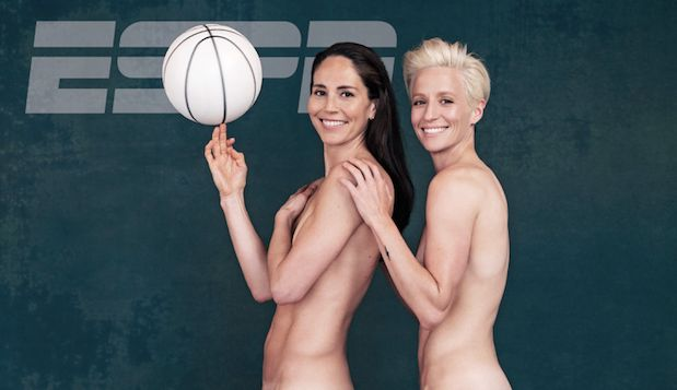 Sue Bird (left) and Megan Rapinoe (right) on the cover of ESPN's body issue.