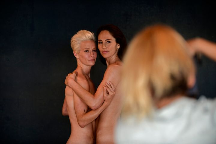 "Rapinoe and Bird at the photo shoot. ""It's important for people to come out. Visibility is important,"" Rapi"