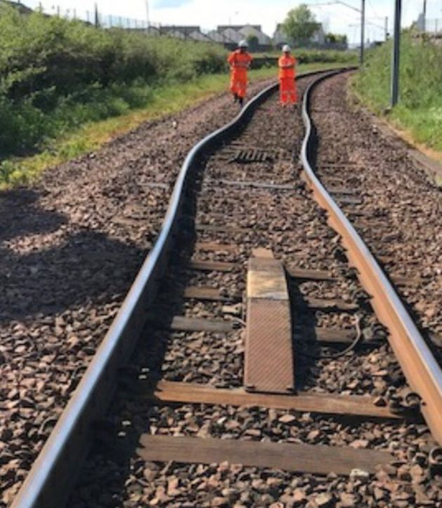 A picture on the Network Rail website shows bent tracks in Wilshaw,