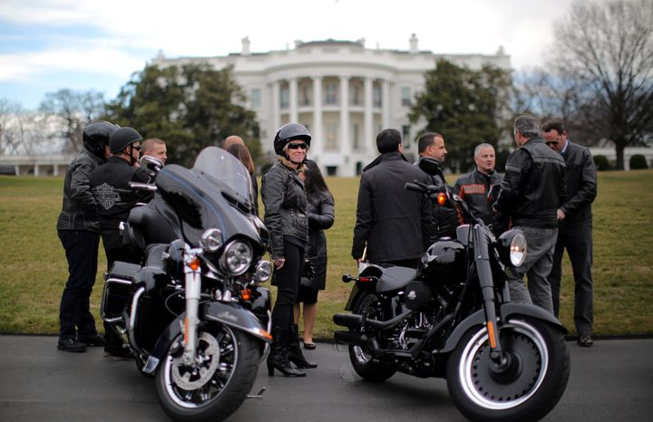 Harley-Davidson executives outside the White House before a meeting with President Donald Trump on Feb. 2, 2017. The com