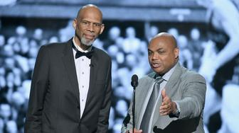 SANTA MONICA, CA - JUNE 25:  Kareem Abdul-Jabbar (L) and Charles Barkley speak onstage at the 2018 NBA Awards at Barkar Hangar on June 25, 2018 in Santa Monica, California.  (Photo by Kevin Winter/Getty Images for Turner Sports)