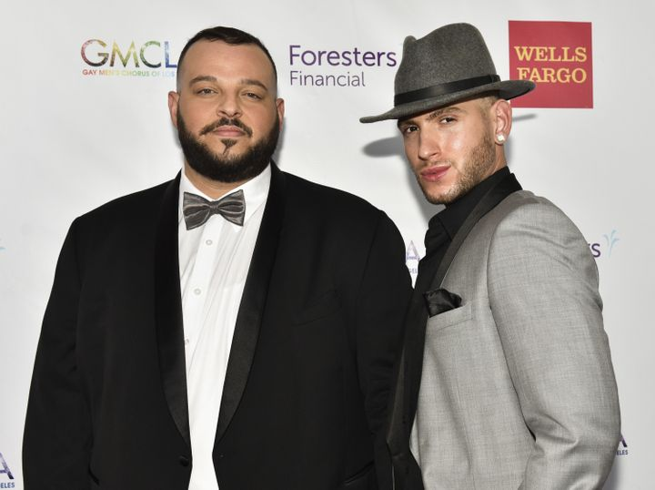 Daniel Franzese (left) and Joseph Bradley Phillips got engaged at a Starbucks in West Hollywood, California, in July 2016.