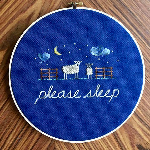 "$90+, get it <a href=""https://www.etsy.com/listing/545719278/funny-nursery-cross-stitch-please-sleep"" target=""_blank"">here</a"