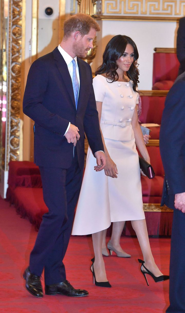 The Duke and Duchess of Sussex at the Queen's Young Leaders Awards ceremony on Tuesday.