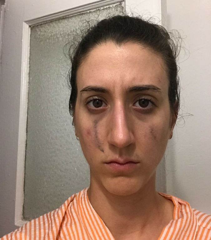 The face of a woman who is not happy about not being able to use cleanser.
