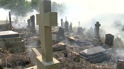 Eerie Footage Captures Smoking Graves As Wildfire Cloaks Manchester Cemetery