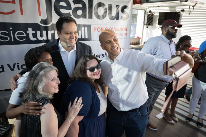 Sens. Cory Booker (D-N.J.), right, is among those who backed former NAACP leader Ben Jealous, top center, for governor in Mar