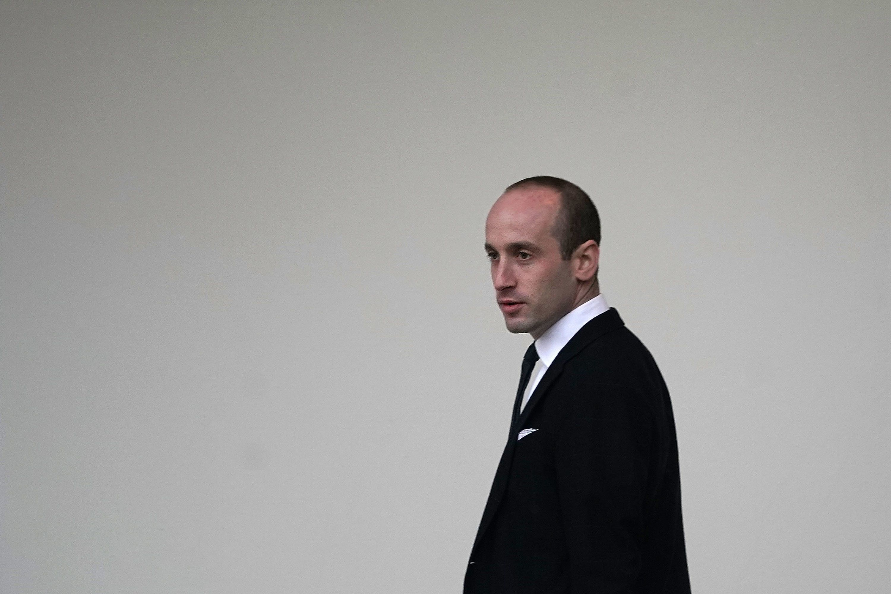 WASHINGTON, DC - DECEMBER 15:  White House Senior Advisor for Policy Stephen Miller after he returned to the White House December 15, 2017 in Washington, DC. President Trump has changed his plan to return to the White House first due to a bad weather call. ItÕs not sure whether he will still travel to Camp David for the weekend.  (Photo by Alex Wong/Getty Images)