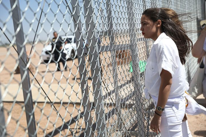 Alexandria Ocasio-Cortez at the Tornillo-Guadalupe port of entry gate on June 24 in Tornillo, Texas. She was part of a group
