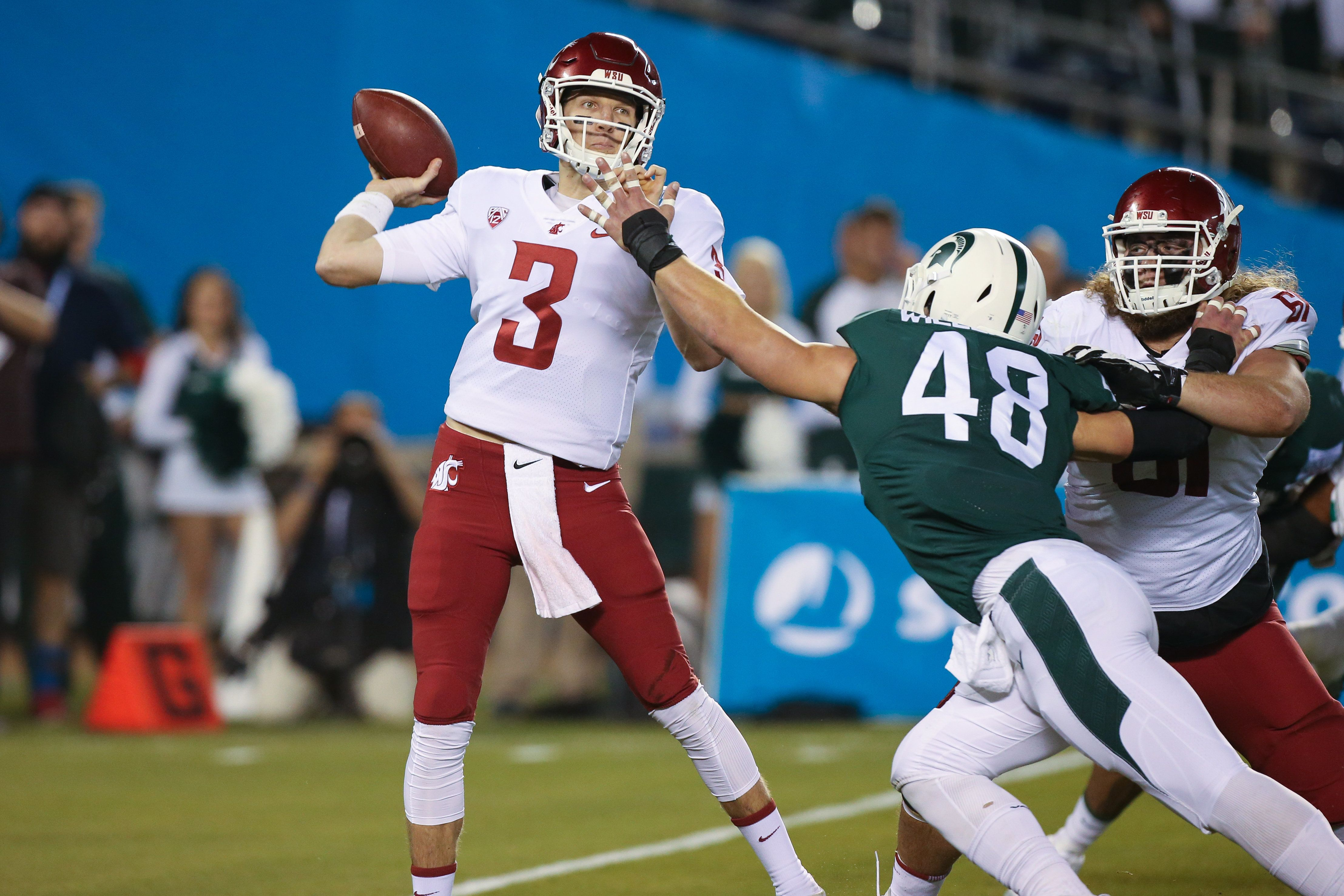 SAN DIEGO, CA - DECEMBER 28: Tyler Hilinski (3) of the Washington State Cougars attempts to throw the ball in the game between the Washington State Cougars and the Michigan State Spartans on December 28, 2017 at the Holiday Bowl in San Diego, CA. (Photo by Jordon Kelly/Icon Sportswire via Getty Images)